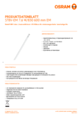 Data sheet Osram SubstiTube Value 8W 600mm 830 EM T8