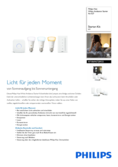 Data sheet Philips Hue White Ambiance LED E27 set of 3 starter set 9,5W with dimmer switch