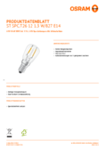 Data sheet Osram LED STAR  SPECIAL T26 10 clear non-dim  1,3W 827 E14