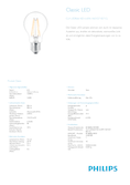 Data sheet Philips Classic LEDluster 2-25W E27 827 P45 clear
