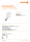 Spécifications Osram LED STAR FILAMENT klar CLA 60 6W 840 E27 non dim