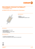 Data sheet Osram LED SST DIM  LINE 78  HS 75 8W 827 R7S 78mm