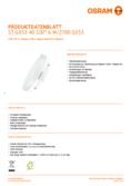 Data sheet Osram LED STAR GX53 40 6W 827 110° non-dim