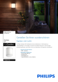 Data sheet Philips myGarden wall lamp Antelope 6W white