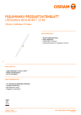 Data sheet Osram LEDINESTRA40 6W 827 matt S14D