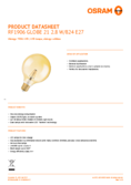 Data sheet Osam LED VINTAGE 1906 GLOBE125 GOLD 21 2,5W 824 E27 non dim