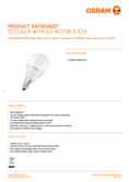 Data sheet Osram LED STAR+ CLP RGBWFR 40 DIM 5,5W 827 E14