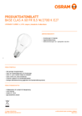 Data sheet Osram LED BASE CLA60 9W 827 FR E27 Three Pack