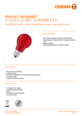 Data sheet Osram LED SUPERSTAR CLA 15 DécorRed non-dim  1,6W 827 E27